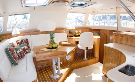 Leap of Faith catamaran salon seating