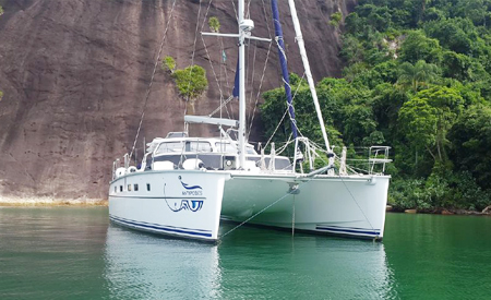 Antipodes catamaran anchored in Brazil