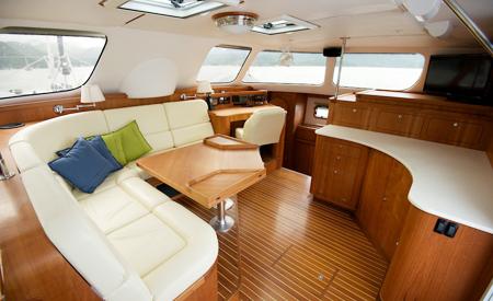 Two Fish catamaran salon seating