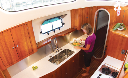 A galley big enough to be called a kitchen aboard the Antares catamaran