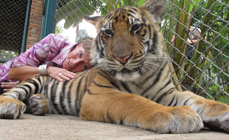Joanne at a tiger sanctuary
