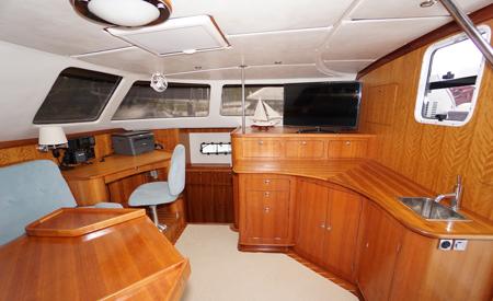 Blue catamaran spacious salon