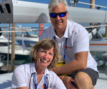 Beth and Ross aboard the Antares 44 Catamaran