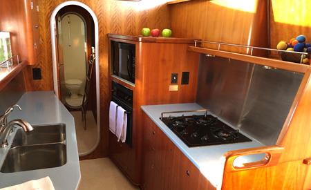 Blue catamaran spacious galley