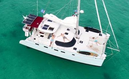 Blue catamaran Overview