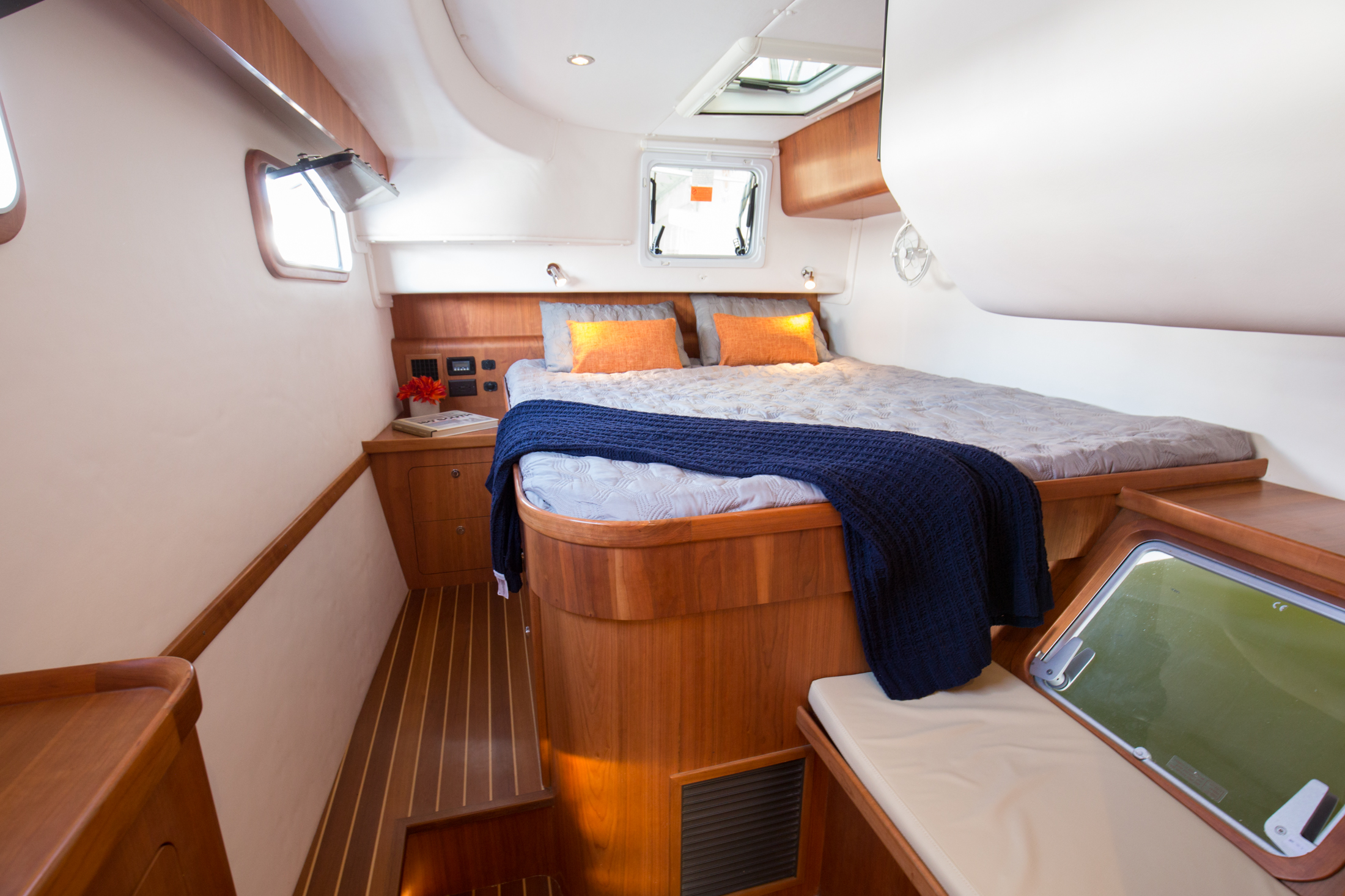 The spacious and airy master cabin